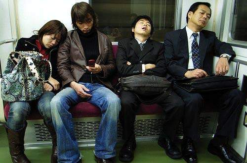 sleeping in Dubai Metro