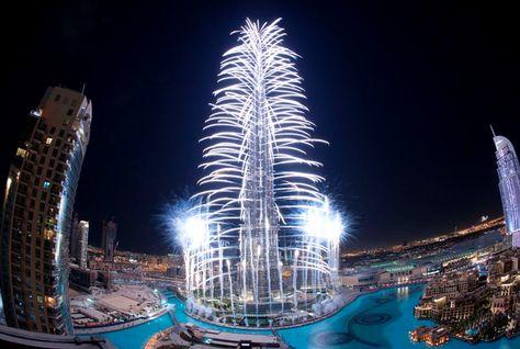 Burj Khalifa fireworks celebration 2012